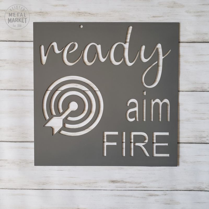 Ready Aim Fire Metal Bathroom Decor