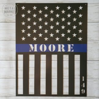 Thin Blue Line Metal Wall Decor Keister Metal Market