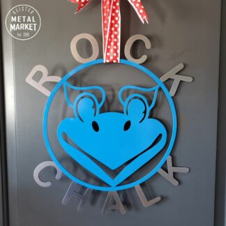 University of Kansas Jayhawk Rock Chalk Metal Wall Decor