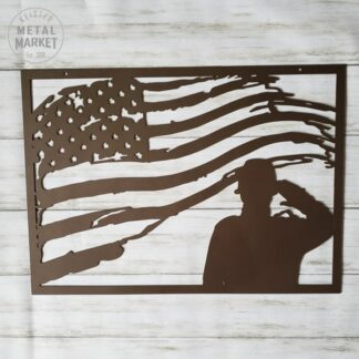 US Military Soldier American Flag Metal Wall Art Keister Metal Market CNC Plasma Cut