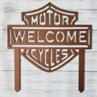 Motorcycles Welcome Metal Yard Sign