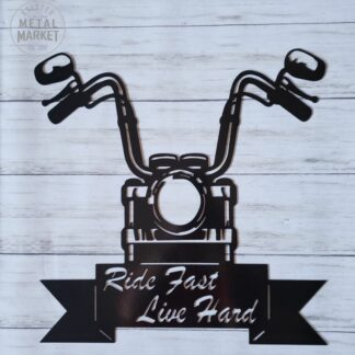 Ride Rast Live Hard Motorcycle Metal Wall Decor